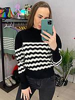 Женский полосатый свитер из вязки двухцветный (р. 42-44) 33dmde954, фото 1