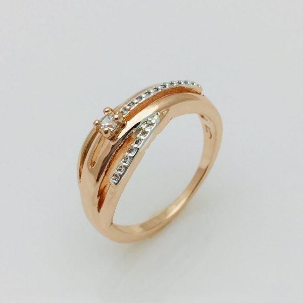 Кольцо с камнями Нейм, размер 16, 17, 20, 21, 22 позолота+ родий