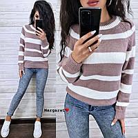 Женский вязаный свитер в полоску с рукавом регланом и с шерстью в составе (р. 42-46) 9dmde962, фото 1