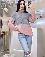 Женский теплый двухцветный кашемировый свитер в высоким воротником (р. 42-46) 20dmde964, фото 1