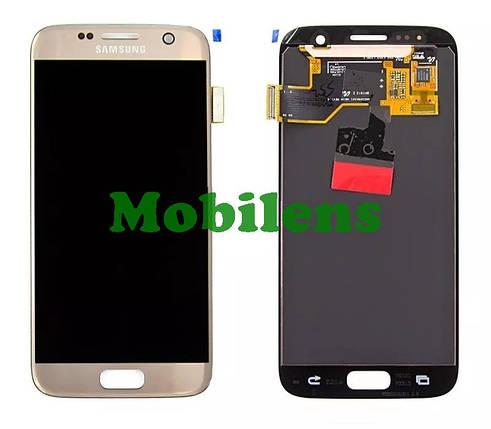 Samsung G930, G930F, Galaxy S7 Дисплей+тачскрин(модуль) золотистый High Copy (OLED), фото 2