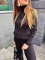 Теплий в'язаний костюм - двійка з подовженого светри з горлом і штанів (р. р 42 - 46) 36mko1442, фото 1