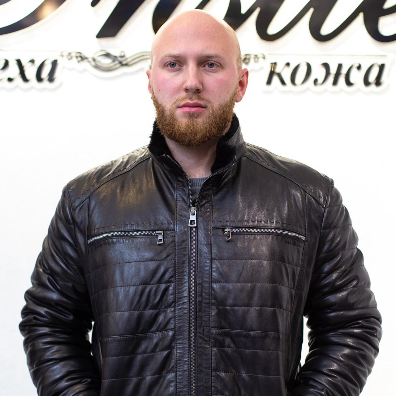 Зима Дубленка Мужская Черная Полоски 008ТДМ