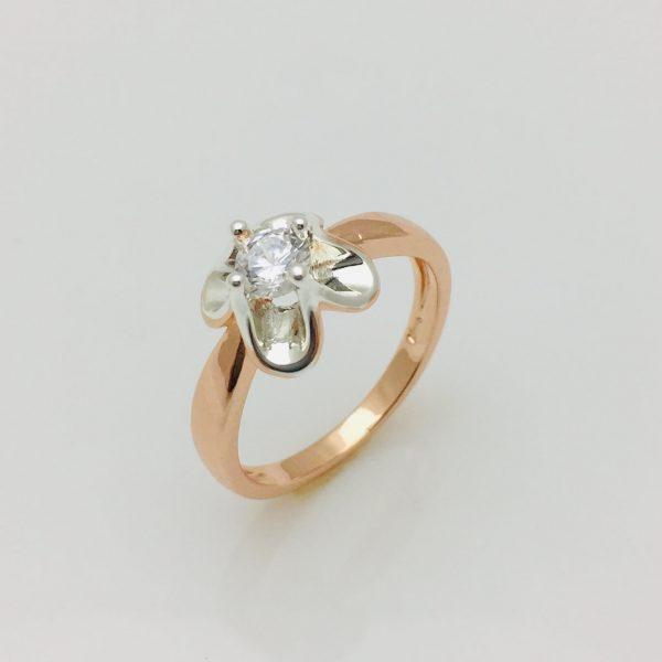 Кольцо с камнем Нежное, размер  17, 18, 19, 20 позолота+ родий