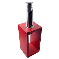 Компактная мебельная розетка (вертикальная) 3х16A, 2хUSB 2,4A IP40