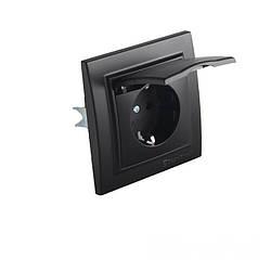 Розетка з кришкою Бездоганний графіт Enzo 16A IP22