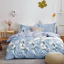 Комплект постільної білизни сімейний Bella Villa сатин блакитний