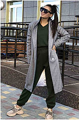 Пальто жіноче NOBILITAS 42 - 48 сірий з чорним кашемір (арт. 20042)