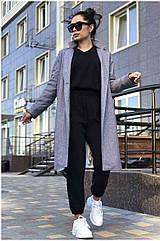Пальто жіноче NOBILITAS 42 - 48 сіра з синім кашемір (арт. 20042)