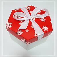Коробка 170х200х100 мм з бантом новорічна