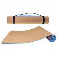 Коврик пробковый SportVida TPE + Cork 183х61х0,6 см для йоги и фитнеса (SV-HK0318)