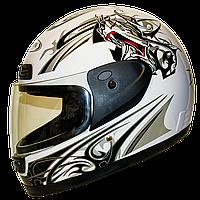Мотошлем FXW HF-109 whiteзакрытый шлем интеграл, full-face белый глянцевый с чёрно-красным узором