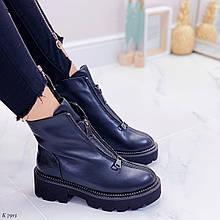 Только 40 р! Женские ботинки ЗИМА черные спереди молния эко кожа
