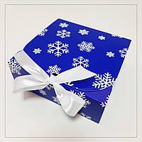 Коробка 170х170х60 мм синя новорічна