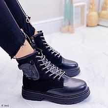 Женские ботинки ЗИМА черные на шнуровке эко кожа + замш