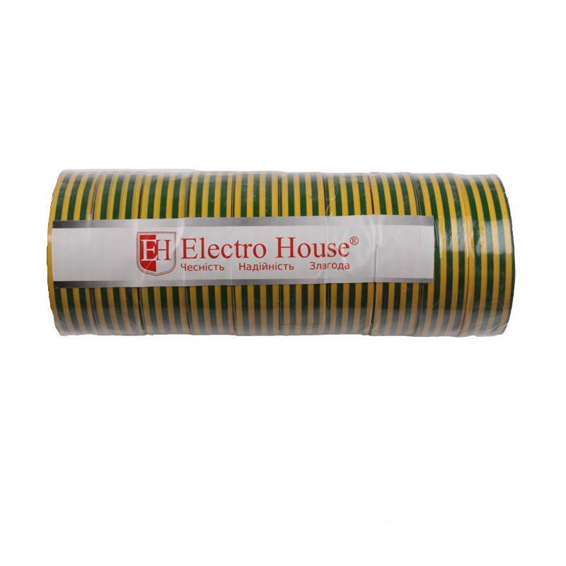 ElectroHouse Изолента желто-зеленая 0,15мм х 18мм х 25м