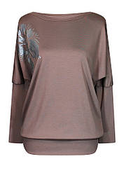Женская красивая кофта Лилея больших размеров для полных с вырезом