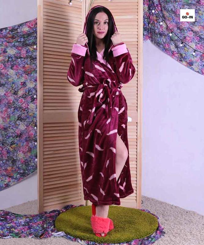 Махровий жіночий халат довгий на запах з капюшоном бордовий р. 46-56