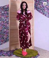 Махровый женский халат длинный на запах с капюшоном бордовый р.46-56