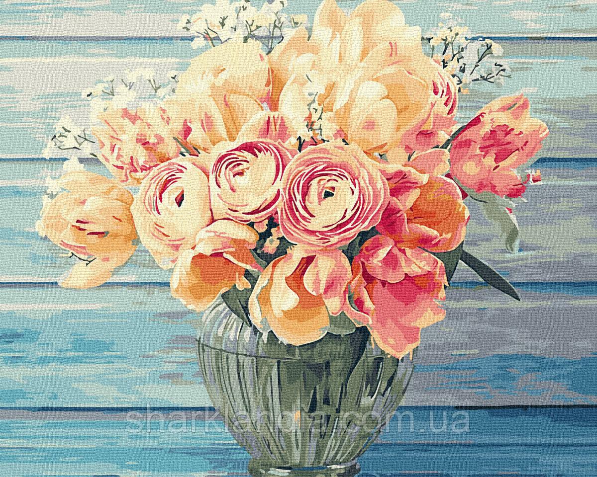 Картина по номерам Нежный букет 40х50см RainbowArt  Цветы Пионы