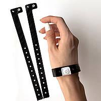 Черный контрольный виниловый браслет на руку с логотипом для посетителей (Black16mm), фото 1