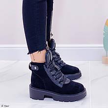 Только 37 р 23,5 см ! Женские ботинки ЗИМА черные эко замш