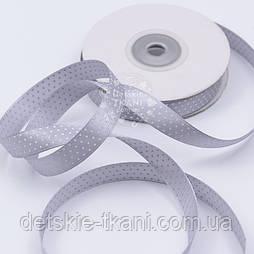 Сатинова стрічка шириною 12 мм, колір - сірий, з точками