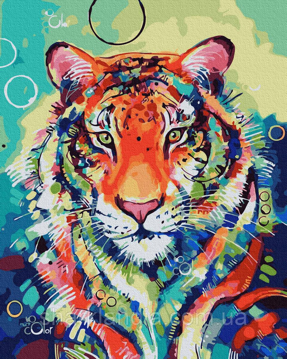 Картина по номерам Красочный тигр 40х50см RainbowArt Радужные животные Хищные Взгляд