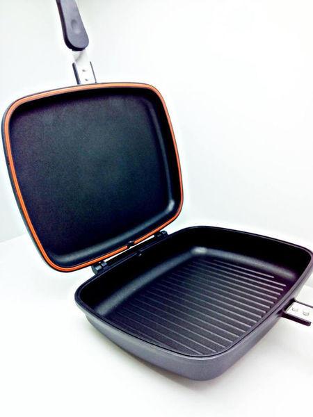 Двухсторонняя сковорода гриль 30 см с ненагревающейся бакелитовой ручкой