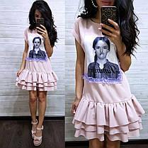 Сукня вільний з воланом і принтом з намистинками, фото 2