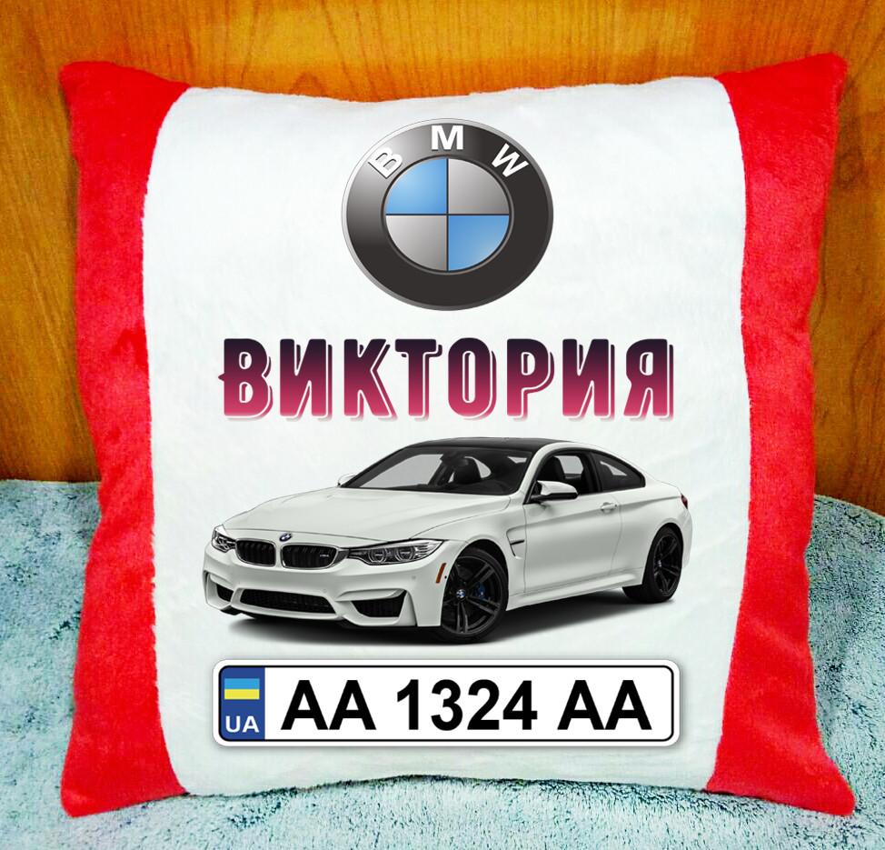 Автомобільна Подушка з логотипом і номерним знаком. Подушка в машину