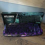 Игровая клавиатура с подсветкой молний Wired Tricolor M200 Atlanfa геймерская keyboard