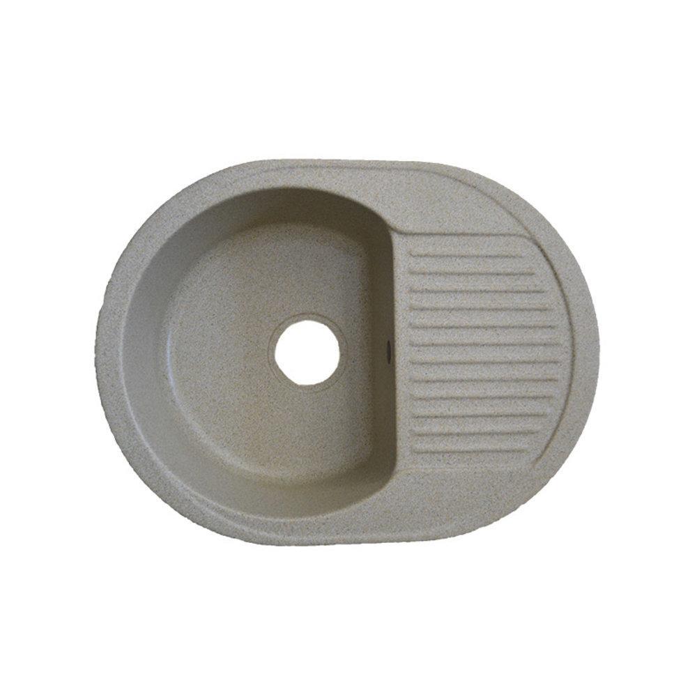 Мийка кухонна гранітна 620*470, чаша 320*390*180 з евросифоном Platinum Пісок