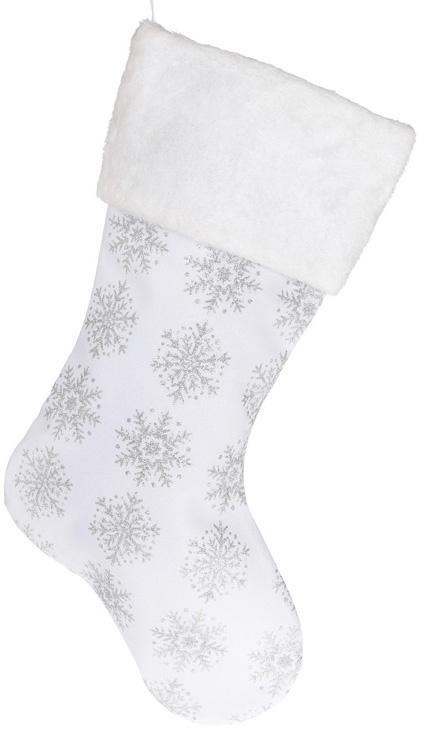 """Носок для подарков """"Снежинки"""" 49см, белый с серебром"""