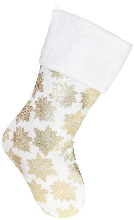 """Носок для подарков """"Рождественники"""" 49см, белый с золотом"""