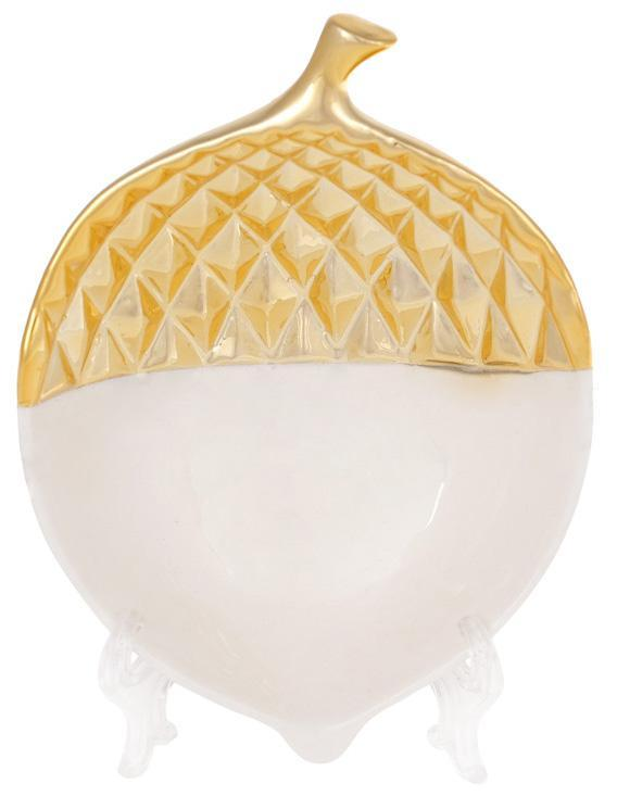 "Набор 2 декоративных блюда ""Желудь"" 15.4х11.5х5см керамика, белый с золотом"