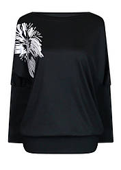 Женская черная кофта Лилея больших размеров с вырезом