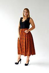 """Женская юбка """"Ортензия"""", ткань мз-креп, трикотаж рубчик.., размеры 48,50,52,54, рыжий леопард,спідниця"""
