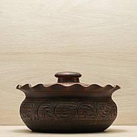 Вареничница с крышкой глиняная малая 1,6л резной узор, фото 1