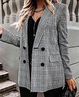 Женский модный пиджак в клетку