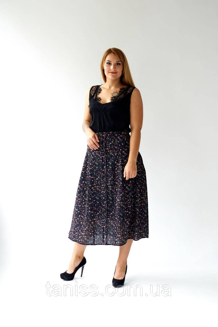 """Жіноча спідниця """"Ортензия"""", тканина мз-креп, трикотаж рубчик..розміри 48,50,52,54, чорний,дрібні квіти,спідниця"""