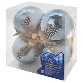 Елочные шарики 8см 4шт/уп, фото 2