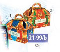 Новогодняя подарочная коробочка для конфет и сладостей 50гр №21-99/b 200шт/ящ КД.