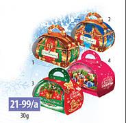 Новогодняя подарочная коробочка для конфет и сладостей 30гр №21-99/а 200шт/ящ КД.