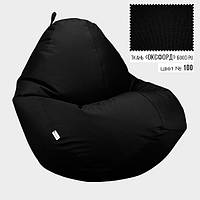 """Кресло мешок груша бескаркасный пуф черный Овал Оксфорд 600D PU Черный XXL 90x130 """"Radi Vsi"""""""