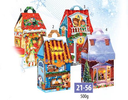 Новогодняя подарочная коробочка для конфет и сладостей 500гр №21-56 200шт/ящ КД.
