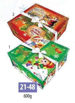Новогодняя подарочная коробочка для конфет и сладостей 600гр №21-48 300шт/ящ КД.