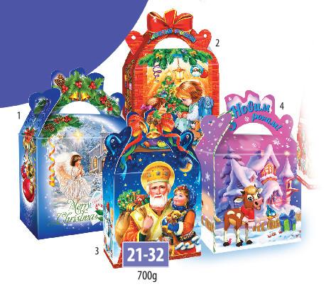 Новогодняя подарочная коробочка для конфет и сладостей 700гр №21-32 220шт/ящ КД.