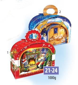 Новогодняя подарочная коробочка для конфет и сладостей 1000гр №21-24 140шт/ящ КД.
