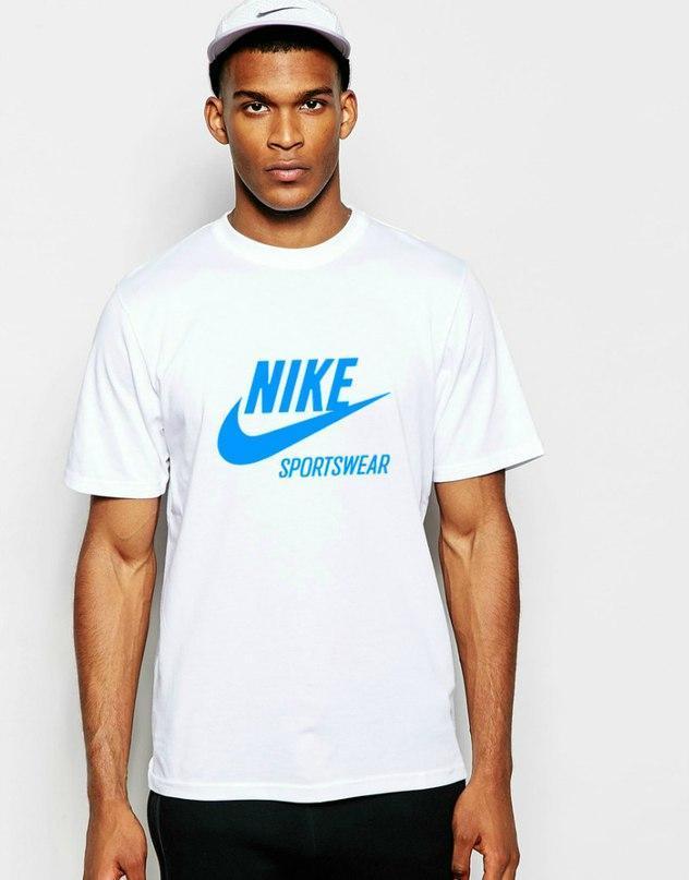 Мужская футболка Найк, хлопок приятная к телу